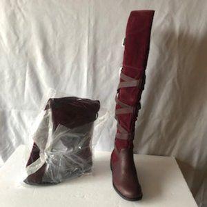 Dorinda Wraparound Flat Boot Bordeaux